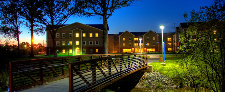 MCC Residence Halls at Night