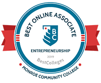 "Award logo from BestColleges.com is to recognize MCC's Entrepreneurship program as ""2019 Best Online Associate."""