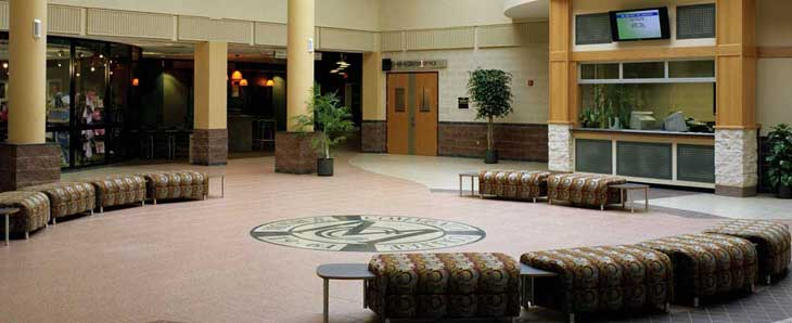 Photo of empty atrium at the Brighton Campus