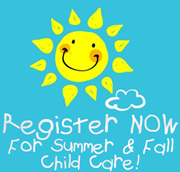 Register now for child care - cartoon graphic of a sun