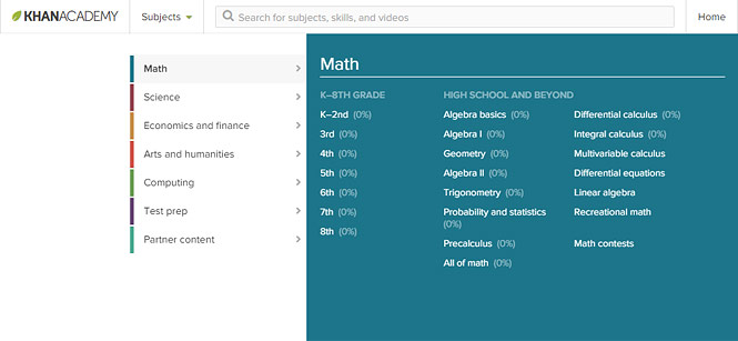 "Under the ""Subjects"" menu, select Math, and choose a topic under ""High School and Beyond"""