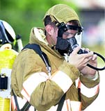 photo of student testing full-face respirator