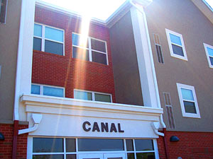 view of front of Canal Hall