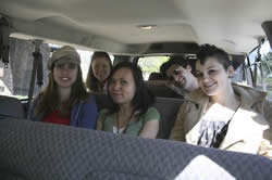 Photo of student travel group on the road.