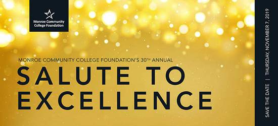 MCC Foundation Salute to Excellence logo - gold sparkle background with black lettering for logo