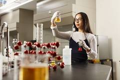 Photo of a female student in a chemistry lab