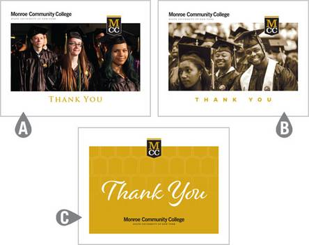 Three designs for MCC Thank You Cards